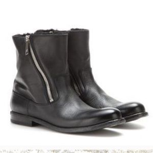 Burberry leather double zipper euniceflat boots